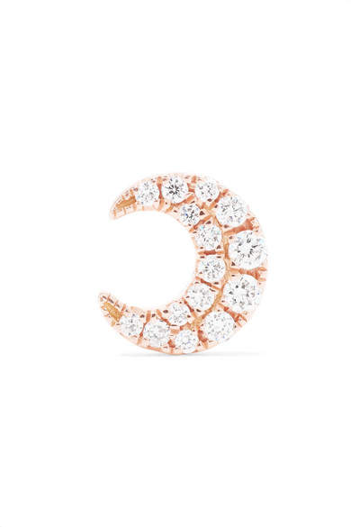 Maria Tash - Moon 18-karat Rose Gold Diamond Earring