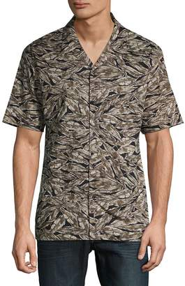 Antony Morato Men's Leaf-Print Short-Sleeve Button-Down Shirt