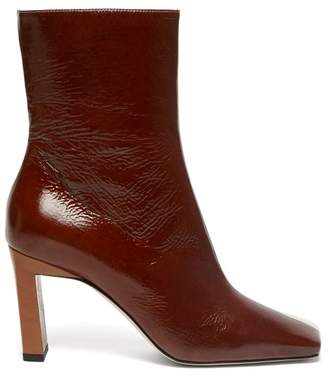 Wandler Isa Tri Colour Square Toe Leather Boots - Womens - Brown Multi