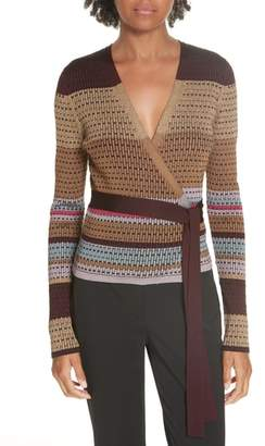 Diane von Furstenberg Metallic Stripe Wrap Sweater
