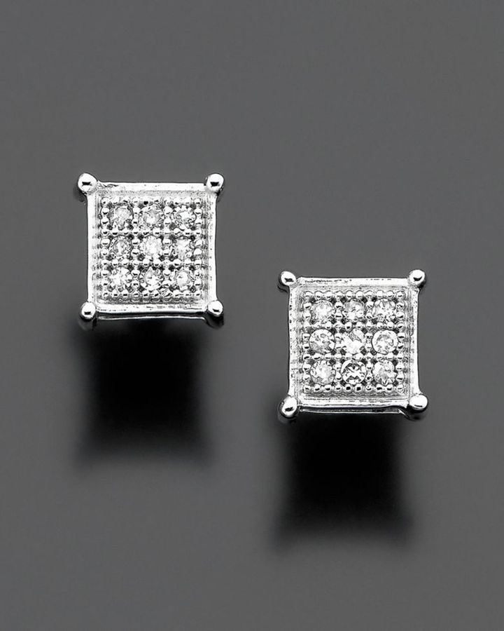 14k White Gold Diamond Accent Square Stud Earrings