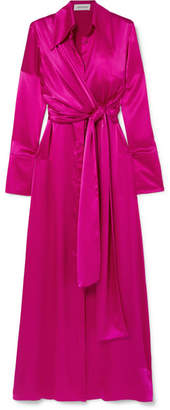 16ARLINGTON - Tie-detailed Silk-satin Maxi Dress - Fuchsia