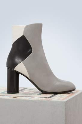 Sartore Leather color block ankle boots with heels