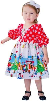Staron Toddler Kids Baby Girls Christmas Dress Outfits Clothes Cartoon Princess Party Skirt