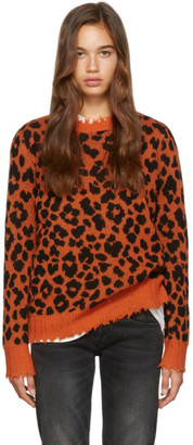 R 13 Orange Leopard Cashmere Sweater