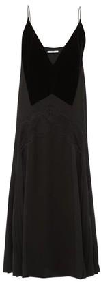 Givenchy Lace Trim Pleated Midi Dress - Womens - Black