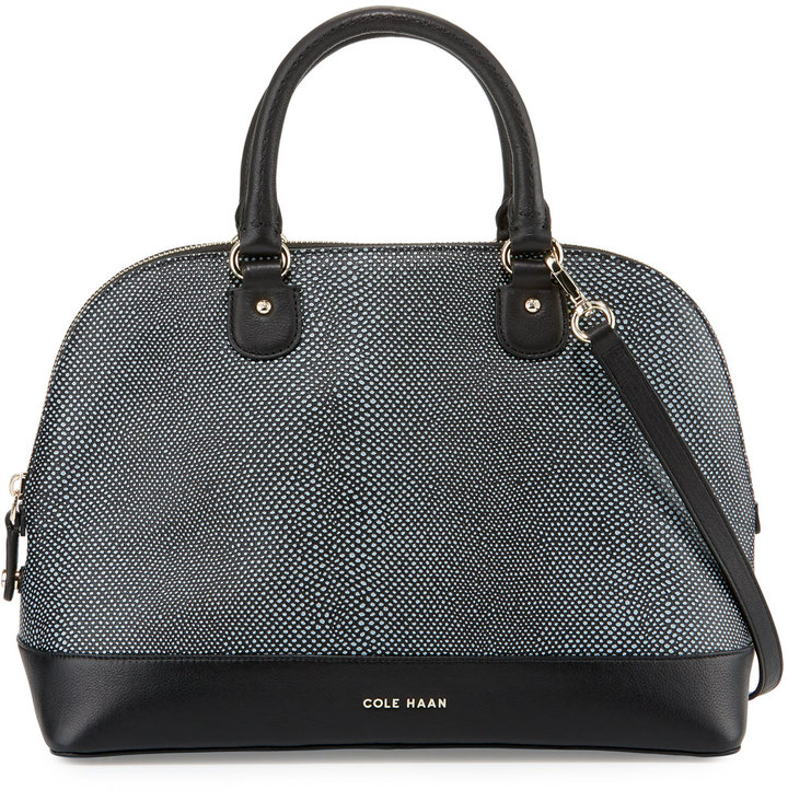 Cole Haan  Cole Haan Milena Lizard-Embossed Leather Satchel Bag, Black/Ivory
