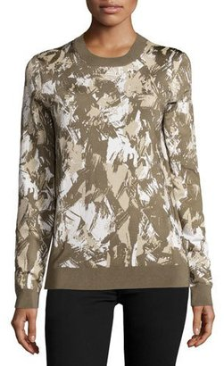 Jason Wu Long-Sleeve Printed Pullover, Army/Beige/Chalk $795 thestylecure.com