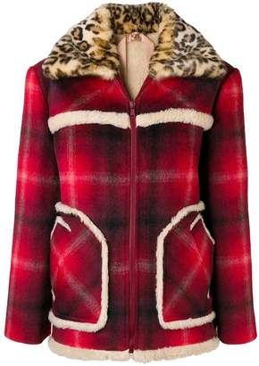 No.21 plaid faux fur-trimmed jacket