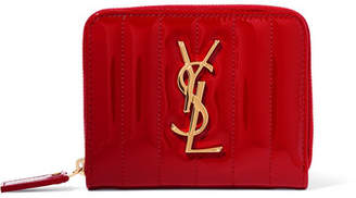 Saint Laurent Vicky Quilted Patent-leather Wallet - Red