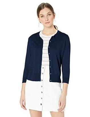 Chaps Women's 3/4 Sleeve Cotton Crewneck Cardigan