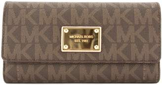 Michael Kors Brown Signature Canvas Jet Set Checkbook Wallet (New with Tags)