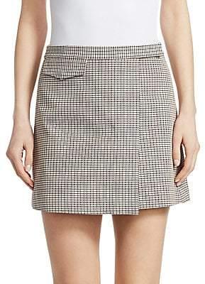 Theory Women's Wool-Blend Plaid Mini Wrap Skirt