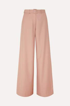 ANNA QUAN - Max Belted Twill Wide-leg Pants - Blush