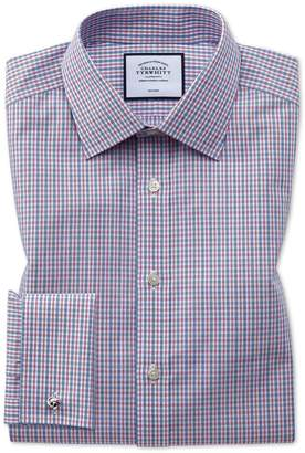 Charles Tyrwhitt Slim Fit Non-Iron Blue and Red Check Cotton Dress Shirt Single Cuff Size 17/35