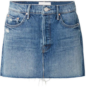 Mother The Vagabond Distressed Denim Mini Skirt