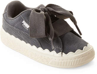 Puma Toddler Girls) Iron Gate Suede Heart Rubberized Sneakers