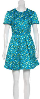 Markus Lupfer Banana Frankie Printed Satin Mini Dress