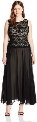 Sangria Women's Plus-Size Lace Bodice Gown with Chiffon Skirt, Black/Putty