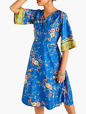Yumi Flower Kimono Dress, Blue