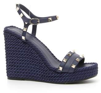 Valentino Rockstud Torchon Wedge Sandal