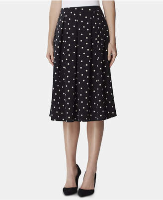 Tahari ASL Polka Dot Box-Pleated Midi Skirt