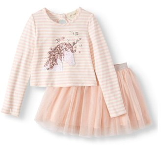d0ae0f3ebf Btween Sequin Unicorn Long Sleeve Tee and Mesh Tutu Skirt