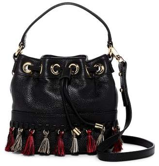 Milly Astor Whipstitch Leather Small Bucket Bag Crossbody Bag