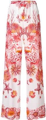 Roberto Cavalli underwater print wide leg trousers