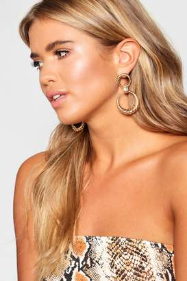 boohoo Oversized 90's Twist Statement Earrings