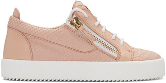 Giuseppe Zanotti Pink Python-Embossed London Sneakers $675 thestylecure.com