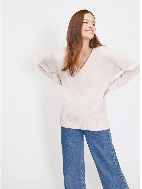 Pink Wide V-Neck Knitted Jumper