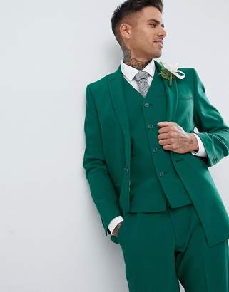 Asos Design DESIGN wedding skinny suit jacket with square hem in forest green
