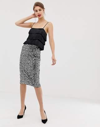 Warehouse midi pencil skirt in silver sequin