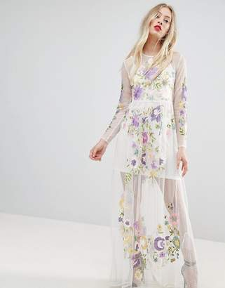 Asos Design PREMIUM Embroidered Mesh Maxi Dress