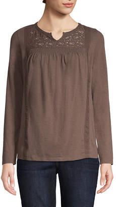 ST. JOHN'S BAY Long Sleeve Notch Neck T-Shirt-Womens