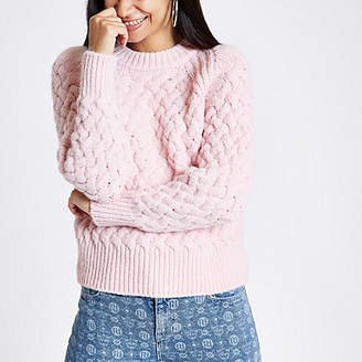 River Island Pink cable knit sweater