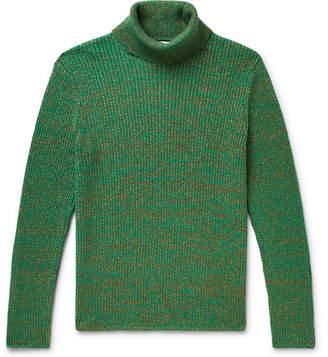 Gucci Slim-Fit Metallic Melange Cotton-Blend Rollneck Sweater - Men - Green