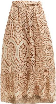 Lisa Marie Fernandez Nicole Broderie Anglaise Cotton Skirt - Womens - Orange Multi