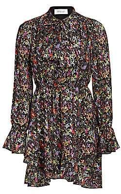 Derek Lam 10 Crosby Women's Lurex Floral Silk-Blend Ruffle-Hem Dress
