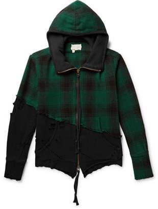 Greg Lauren Panelled Distressed Cotton-Jersey And Wool-Fleece Zip-Up Hoodie