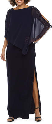 Dj Jaz DJ Jaz 3/4 Sleeve Beaded Cape Evening Gown
