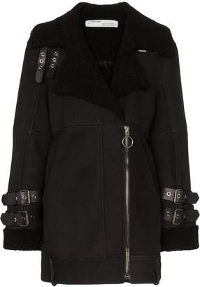 Off-White shearling-lined biker coat