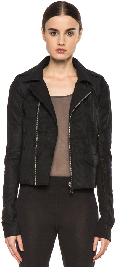 Rick Owens Short Stooges Lambskin Leather Moto Jacket in Black