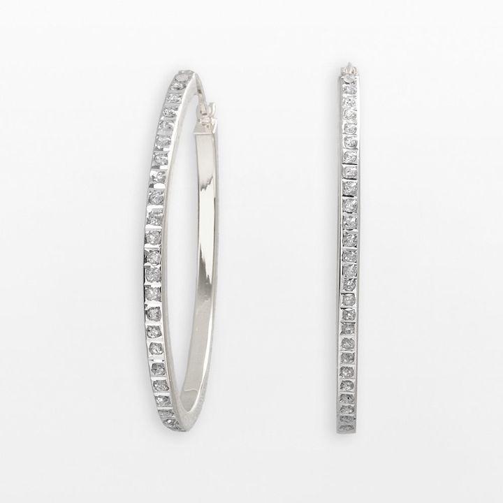 Diamond mystique TM platinum over silver hoop earrings