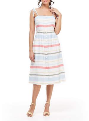 Gal Meets Glam Striped Button-Down Tie-Shoulder Dress