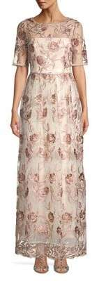 Adrianna Papell Embroidered Floral Gown
