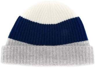N.Peal colour-block beanie hat