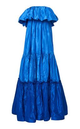 Leal Daccarett Azul Profundo Off-The-Shoulder Silk-Taffeta Dress