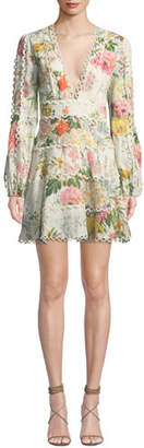 Zimmermann Heathers Floral-Print Linen Long-Sleeve Mini Dress